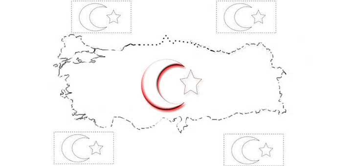 Turk Bayragi Boyama Kagidi Calismasi Turk Bayraklari